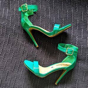 Bright Green Stiletto Open Toe Heels